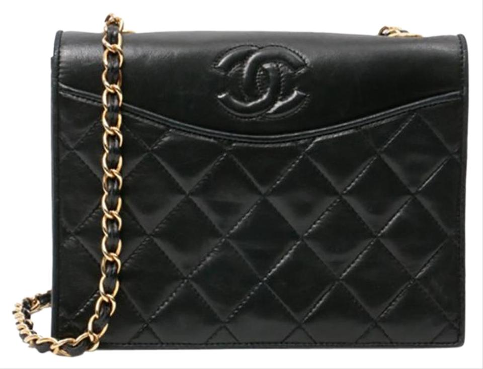 24c55b8b491d Chanel Classic Flap Vintage Quilted Cc Black Lambskin Leather Shoulder Bag
