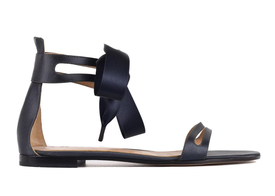 9f0cee8ccfc Gianvito Rossi Navy Womens Satin Ankle Bow Flat C3527 Sandals Size ...