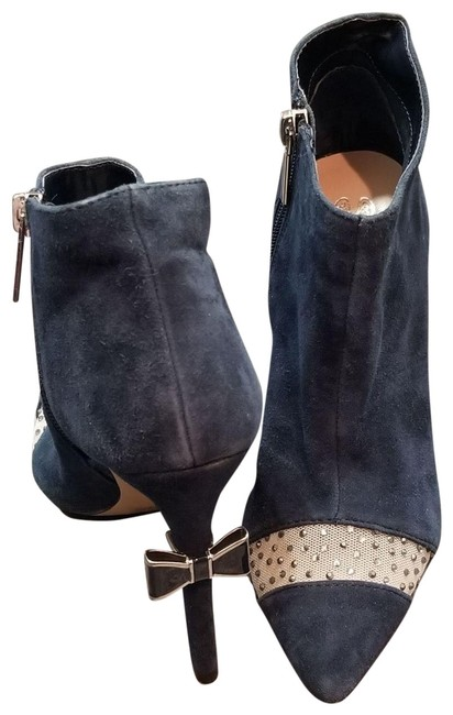 Item - Navy W Suede Sparkler Crystal High Heels Bow Ankle Boots/Booties Size US 5 Regular (M, B)
