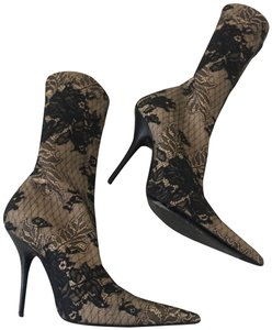 aef908f25e9d Balenciaga Nude with Black Lace Knife Heels Boots Booties Size EU ...
