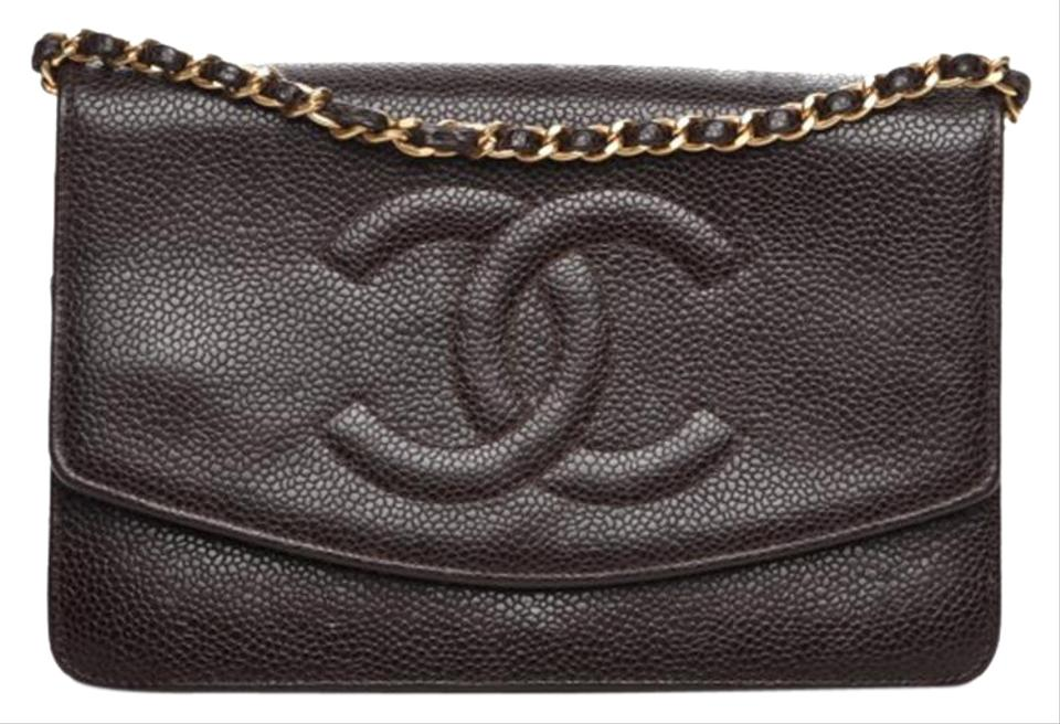 c307b634f474 Chanel Wallet on Chain Authechanel Timeless Cc Woc Dark Brown Caviar  Leather Cross Body Bag