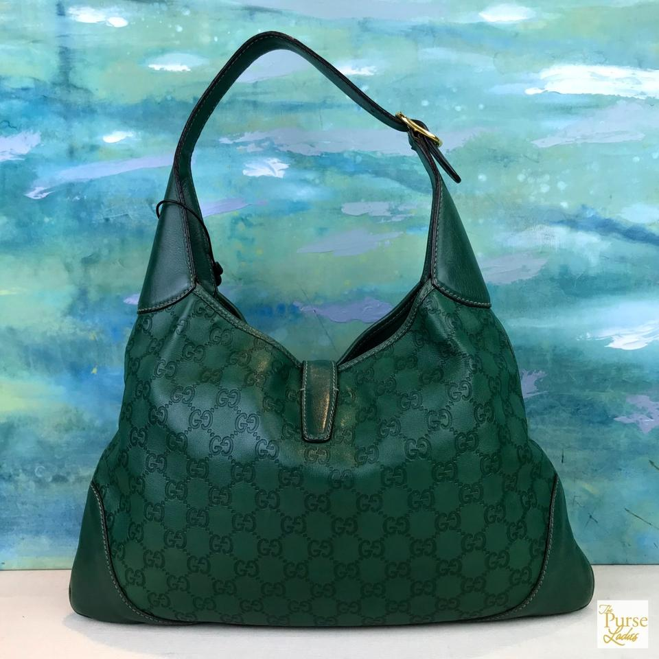 4739c1b45bfd Gucci Jackie Guccissima Monogram Gg Web Green Leather Shoulder Bag - Tradesy