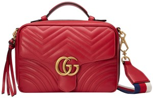 90cb3401285a Gucci Cross Body Bag. Gucci Camera Marmont New Small Gg 2.0 Matelassé  Webbed Red Leather ...