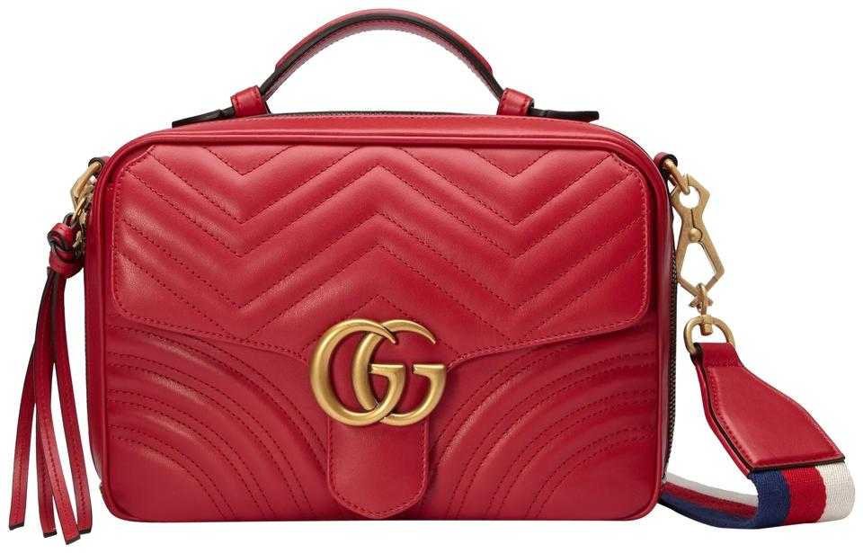73fa8e0d1f8 Gucci Marmont New Small Gg 2.0 Matelassé Camera Webbed Red Leather ...