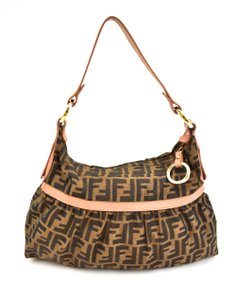 Fendi Borsa Zucca Ff Logo Leather Shoulder Bag