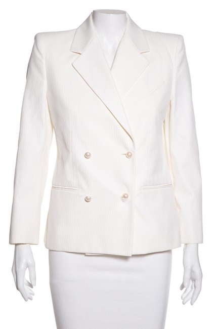 Item - White Ivory Pearl Button Double Breasted Jacket Blazer Size 6 (S)