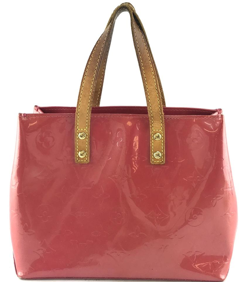 8dde5ff94 Louis Vuitton Reade #27340 Pm Hand Satchel Open Top Monogram Red Pink  Vernis Patent Leather Tote