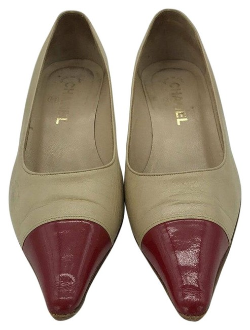 Item - Tan and Red Leather Pointed Toe Kitten Heels Pumps Size EU 37.5 (Approx. US 7.5) Wide (C, D)