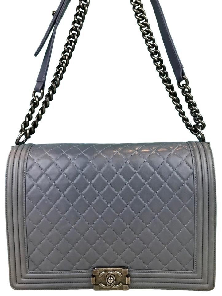 efb9926c7945 Chanel Boy Quilted Large Gray Lambskin Leather Shoulder Bag - Tradesy