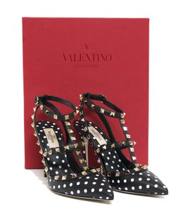 51a89a319fc Valentino Studded Pointed Toe Ankle Strap Stiletto Classic Black Pumps