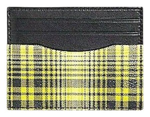 Coach NEW MEN'S COACH (F38025) NEON YELLOW SOFT PLAID PRINT ID CARD CASE HOL