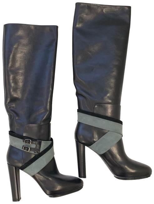 Item - Black Leather Suede Tall Boots/Booties Size EU 40 (Approx. US 10) Regular (M, B)