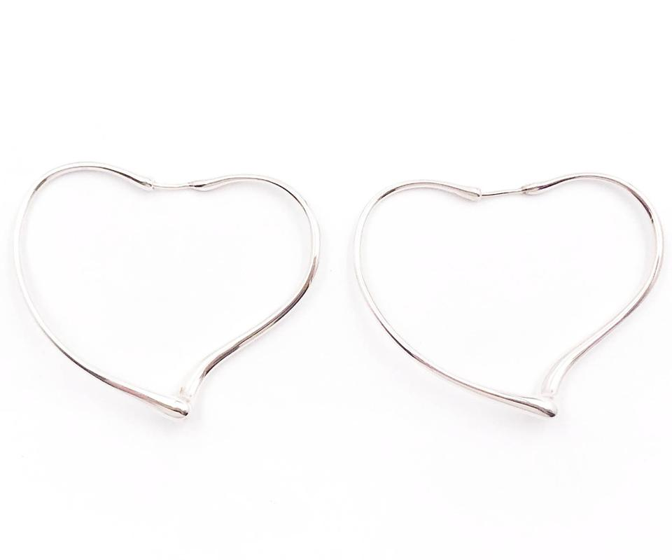 ca607c932 Tiffany & Co. Tiffany & Co 925 Sterling Silver Open Heart Hoop Piercing  Earrings Image ...