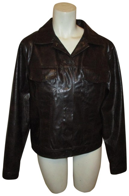 Item - Dark Brown Reptile Embossed Faux Leather Jacket Size 8 (M)
