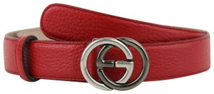 Gucci Leather Belt w Silver Black Interlocking G Buckle 105 42 295704 6420 36c4af26e91