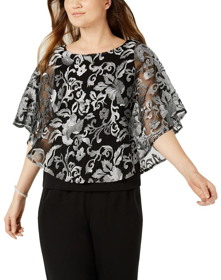ad6328199a82 Connected Apparel Silver Embroidered Capelet Blouse Size 10 (M ...