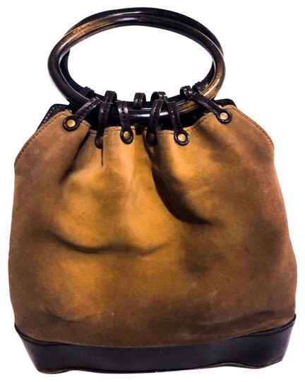 3c1e556522fd Gucci Tote Vintage Suede Wooden Ring Handle Brown Leather Hobo Bag ...