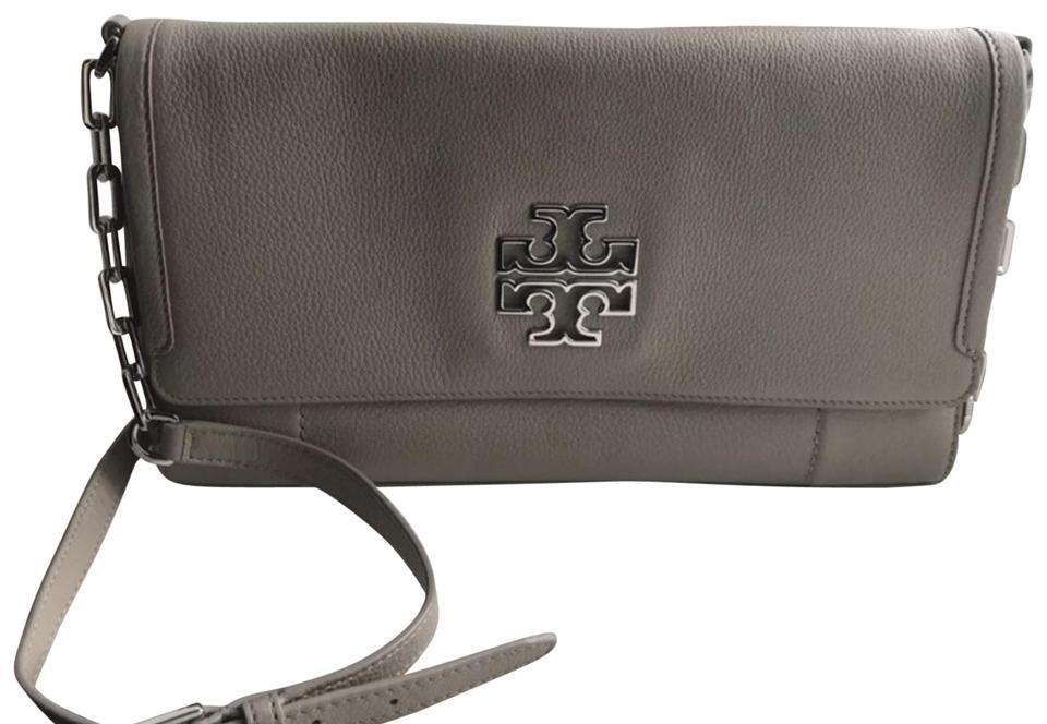 14d1838aff6 Tory Burch Britten Messenger French Gray Leather Cross Body Bag ...