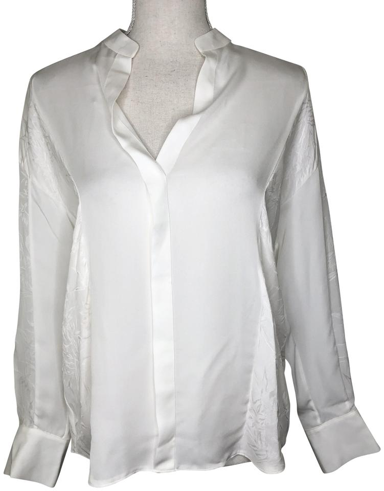89344eb640222 Vince White Mixed Media Pullover Silk Blouse Xs Button-down Top Size ...