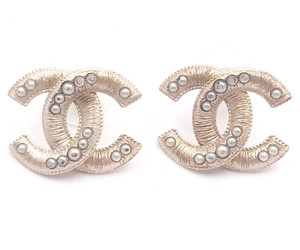Chanel Chanel Light Gold Textured CC Pearl Piercing Earrings