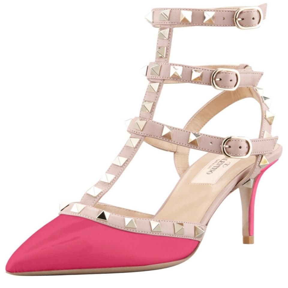 245f591d6ed0 Valentino Pink Rockstud 65mm Matte Leather Cyclamen Ankle T-strap Cage  Sandals Pumps