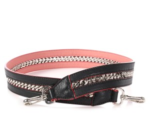 Fendi BLACK AND PINK LEATHER CHAIN STRAP YOU SHOULDER STRAP