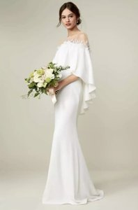 26c00000c39 Tadashi Shoji Ivory Bridal Off The Shoulder Popover Gown Traditional Wedding  Dress Size 10 (M
