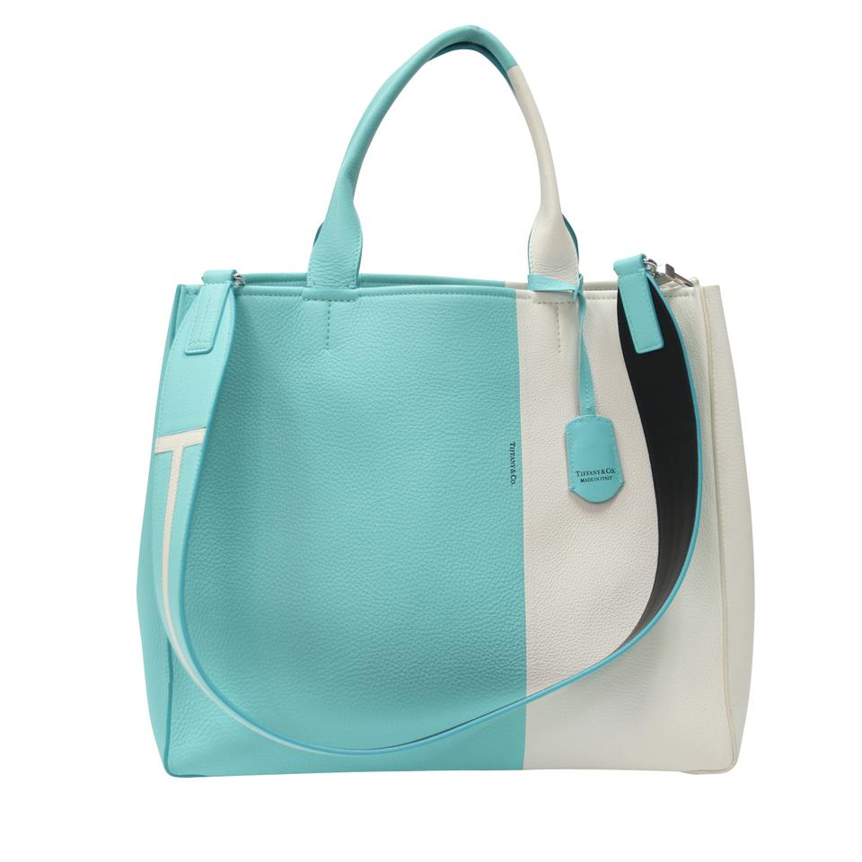 bfe24fe90d Tiffany & Co. Bag Color Block Grained Strap Off White and Blue Calfskin  Leather Tote