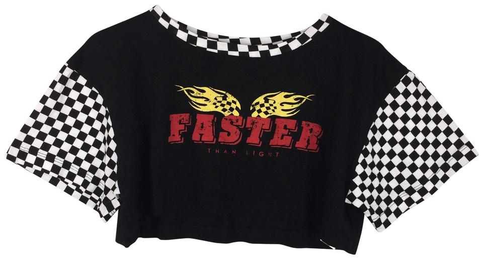 4077baad240 Forever 21 Multicolor S Faster Than Light Crop Checker Sleeve Tee Shirt  Size 4 (S)
