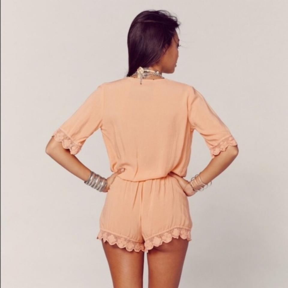 9db351801c9 Blue Life Orange Crochet Romper Cover-up Sarong Size 8 (M) - Tradesy