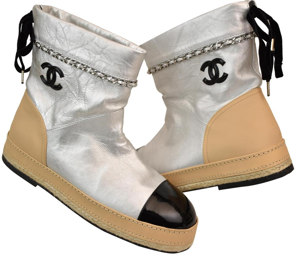 14a7a6cac19 Chanel Silver G33358 Beige Leather Black Cc Chain Espadrilles Boots Booties