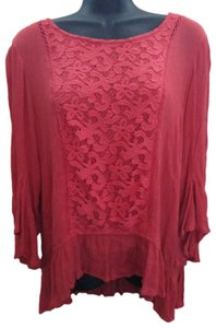One World Coral Lace Spring Summer Bell Sleeve Top Pink
