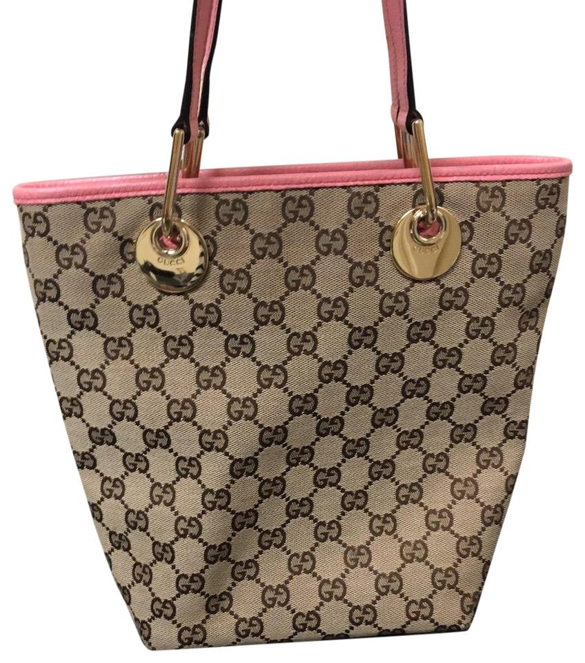 9c89dae817c6 Gucci Purse Tan and Pink Monogram Trim Tote - Tradesy