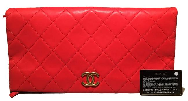 Item - Quilted Cc Fold Over Red Leather Clutch