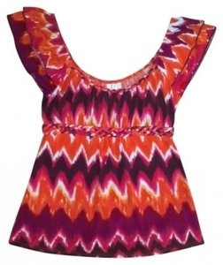 HeartSoul Bright Top Dark orange, pink, brown, and white