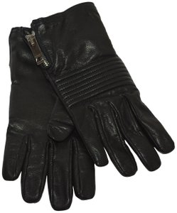 Burberry NWT BURBERRY BLACK LEATHER BRITGLOVE GLOVES SZ 8.5