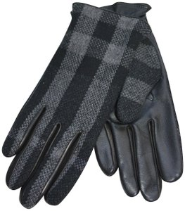 Burberry NWT BURBERRY LEATHER / WOOL / CASHMERE CHECK PRINT GLOVES SZ 9