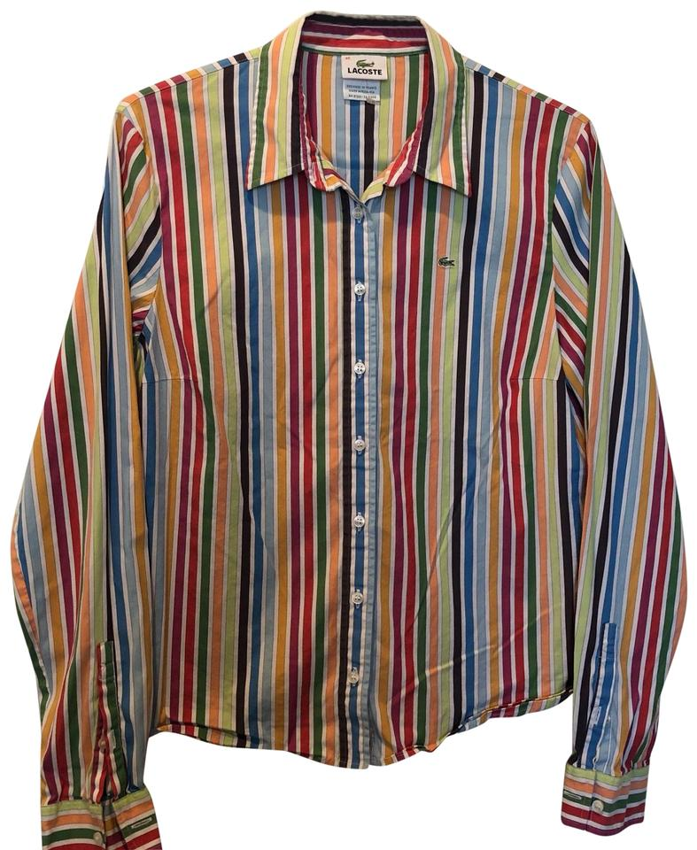 77af379be Lacoste Multi-color Striped Sleeve Button-down Top Size 8 (M) - Tradesy
