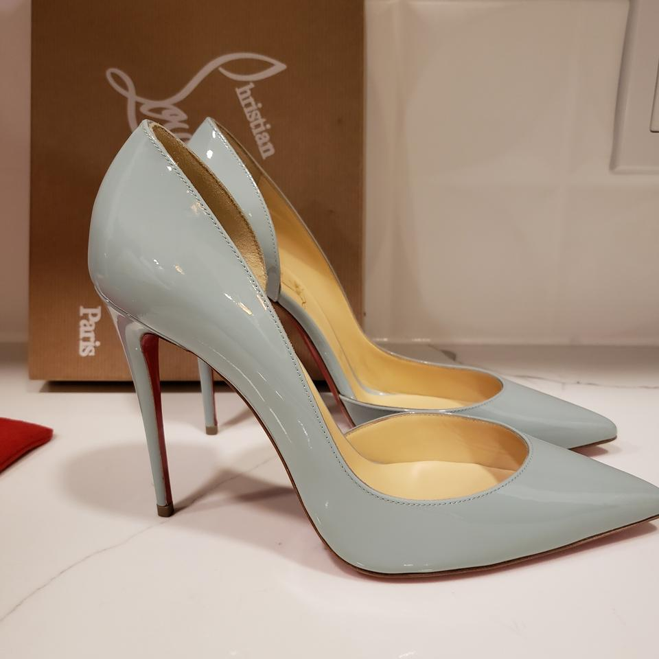 bc57577e4a4b Christian Louboutin Heels Iriza D orsay Patent Leather Wedding Nuage (Blue)  Pumps Image. 123456789101112