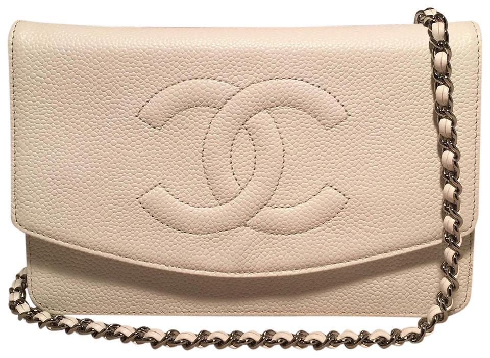 5dfa87d54dffa7 Chanel Wallet on Chain Clutch Caviar White Leather Shoulder Bag ...