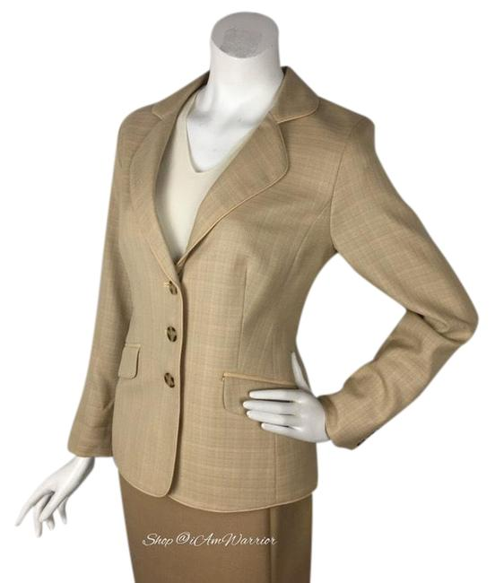 Item - Tan Textured Virgin Wool Classic Blazer Size 10 (M)