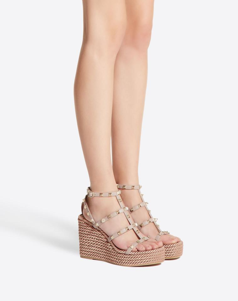 4223e8ad53a Valentino White Rockstud Torchon Caged Strappy Espadrille Wedge Sandals  Platforms Size EU 38 (Approx. US 8) Regular (M, B)