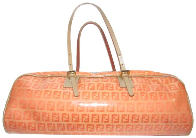 Item - Limited Edition East To West Style Purses Orange F Logo Print/Taupe Coated Canvas and Leather Satchel