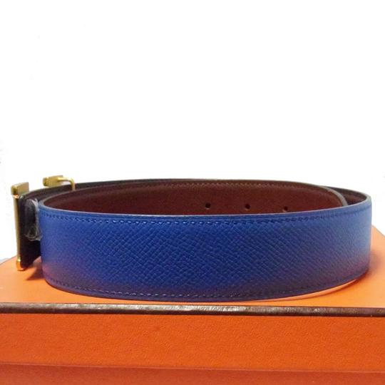 Hermès Constance blue brown leather Circle Z belt gold H buckle reversible size 65 with box Image 1