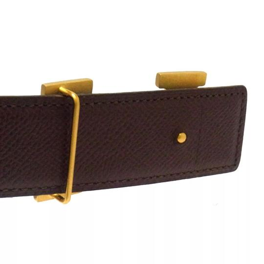 Hermès Constance blue brown leather Circle Z belt gold H buckle reversible size 65 with box Image 3