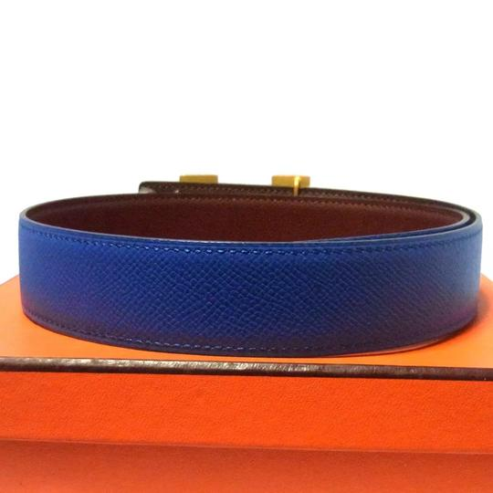 Hermès Constance blue brown leather Circle Z belt gold H buckle reversible size 65 with box Image 4