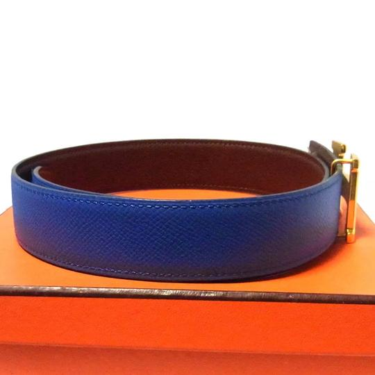 Hermès Constance blue brown leather Circle Z belt gold H buckle reversible size 65 with box Image 9