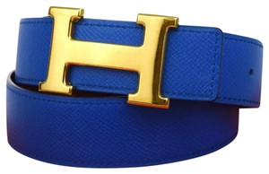 Hermès Constance blue brown leather Circle Z belt gold H buckle reversible size 65 with box