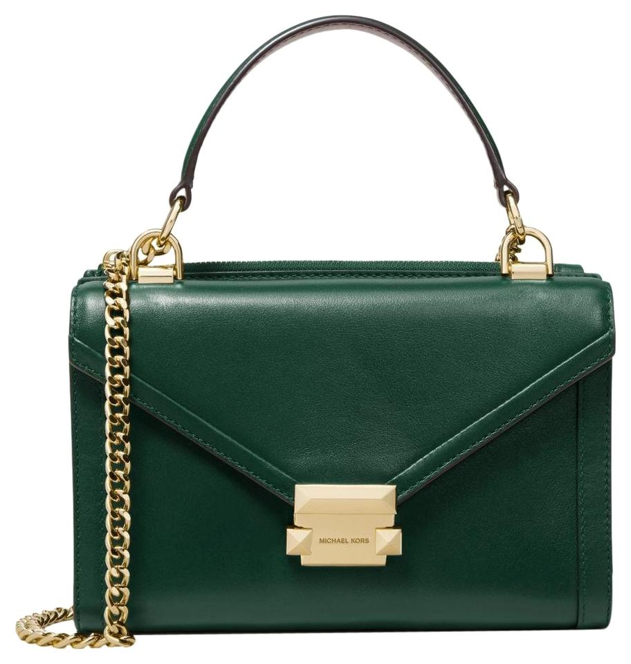 699ec146018d Michael Kors Whitney Small Convertible Racing Green Leather Shoulder ...