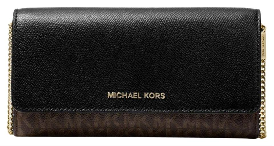 05e32a6fa105 Michael Kors Wallet Leather/Canvas Brown/Black 33h8gf5c3b Wristlet in Brown/ Black Image ...